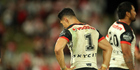 Roger Tuivasa-Scheck laments during the Warriors' loss to the Dragons. Photo / Photosport