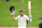 New Zealand captain Kane Williamson celebrates his century yesterday. Photosport