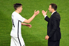 All Whites goal-scorer Ryan Thomas is congratulated by coach Anthony Hudson. Photo / photosport.nz