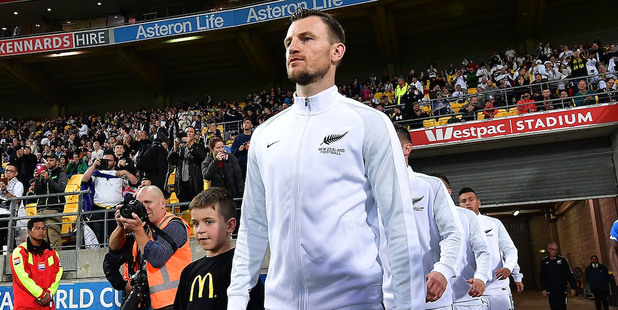 Tommy Smith leads the All Whites out onto Westpac Stadium. Photosport