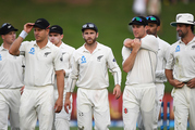 New Zealand captain Kane Williamson and players at the end of play on Day 4. Photosport
