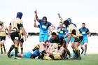 Blues players celebrate Akira Ioane's try. Photo / Photosport