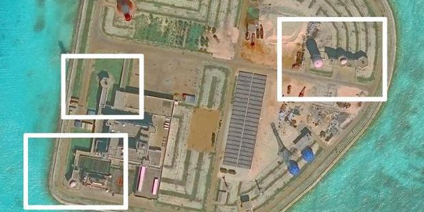 Anti-aircraft and antimissile systems can be seen on one of the artificial islands. Picture: CSIS / Supplied