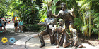 A statue of Steve Irwin and his family at Australia Zoo. Picture / Linda Thompson.