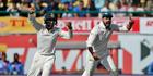 India's Cheteshwar Pujara, left, and Murali Vijay celebrates the dismissal of Australia's Josh Hazlewood. Photo / AP