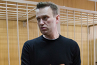 Russian opposition leader Alexei Navalny speaks in court in Moscow. Photo / AP