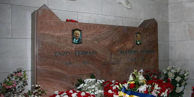 The tomb of Enzo Ferrari in a cemetery in Modena, Italy. photo / AP