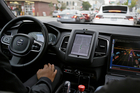 An Uber car in driverless mode waits in traffic during a test drive in San Francisco. Photo / AP