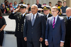 Prime Minister of Fiji Frank Bainimarama, with MP Paul Goldsmith at a Wreath Laying ceremony. Photo / Jason Oxenham
