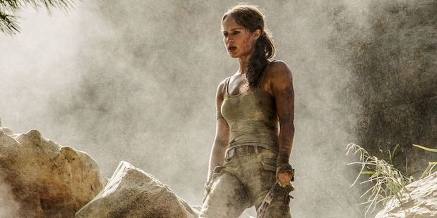 Alicia Vikander as Lara Croft in a new photo from the set of the new Tomb Raider movie.