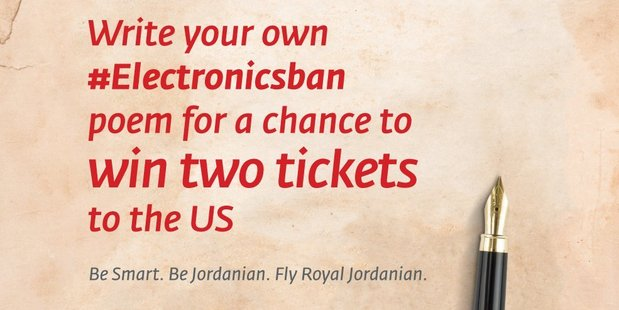 Royal Jordanian seriously sassing Trump over the electronics ban. Photo / Twitter