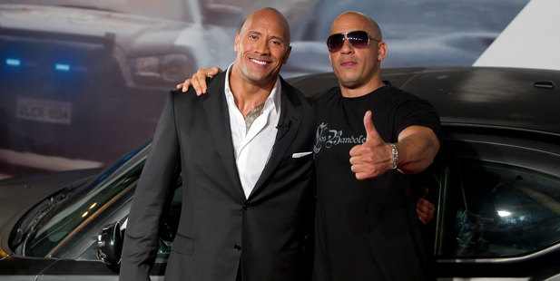 Dwayne Johnson (The Rock) and Vin Diesel at the premiere of Fast and Furious 5. Photo / Getty