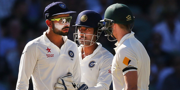 Virat Kohli of India confronts Steve Smith of Australia during their 2016 series in Australia. Photo/Getty Images