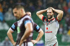 The Warriors have yet to win at Perth Oval, including this golden point defeat to Manly last season. Photo / Getty