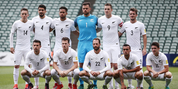 The All Whites line up for a team photo prior to the 2018 FIFA World Cup Qualifier match against New Caledonia at QBE Stadium in Albany last November. Photo / Getty Images.