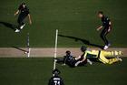Kane Williamson dismisses Josh Hazlewood to win the first ODI at Eden Park. Photo / Getty Images