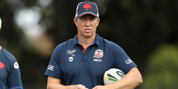 Roosters coach Trent Robinson watches on during the Sydney Roosters NRL training session. Photo/Getty Images