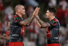 Gareth Widdop, right, celebrates with Russell Packer. Photo /Getty