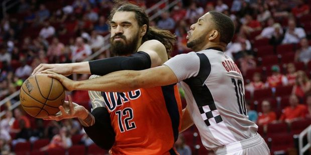 Eric Gordon of the Houston Rockets is called for a foul on Steven Adams. Photo / Getty