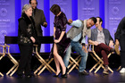 Cuba Gooding Jr lifts Sarah Paulson's dress on stage during a panel for American Horror Story: Roanoke at the Los Angeles PaleyFest. Photo / Getty