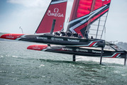 The crew of Emirates Team New Zealand put their AC50 race boat through its paces on one of its final training days in Auckland. Photo: Hamish Hooper/ETNZ