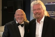 "Sir Ray Avery with Sir Richard Branson, who has packed out Auckland's Vector Arena tonight for an appearance in a  ""rare conversational format"""