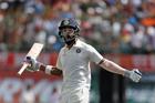 India's Lokesh Rahul celebrates after winning the fourth test. Photo / AP