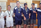 Tauranga bowlers, left to right, Dannika Worthington, Jordan Gilby, Anthony Ouellet, Zac Paterson, Liam Williams and Joshua Badshad. Photo / Supplied
