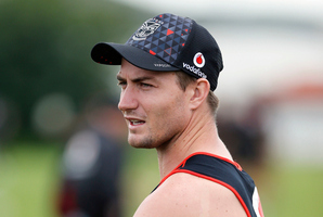 Sideshow over? We might have photos of Kieran Foran in Warriors playing gear next week. Photo / Photosport