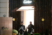 Armed police officers stand guard outside the Cartier jewellery store after a robbery in Monaco. Photo / epa