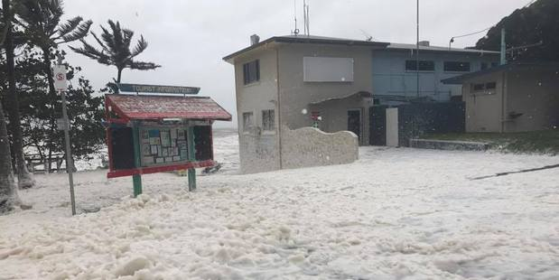 Trinity Turner posted this image to the Sarina Community Noticeboard showing sea foam whipped up from Cyclone Debbie in Queensland. Photo / Facebook