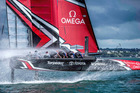 Emirates Team New Zealand take their 50-ft America's Cup race boat for a spin on the Waitemata in the final week of training in Auckland. Photo: Hamish Hooper/ETNZ