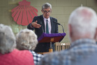Green Party list MP Barry Coates addresses members of Grey Power Rotorua yesterday. Photo/Stephen Parker