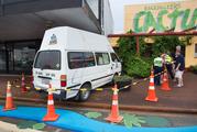 The rental van outside Cactus Jacks' Backpackers on Haupapa St.  PHOTO/BEN FRASER