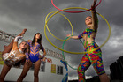 From left sisters Kiarnna Weber, silks, Kaleau Weber, trapeze and their cousin Americus Weber, hula hoops, are performers in the Weber Bros Circus. Photo/Ben Fraser