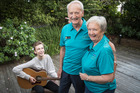 Max Earnshaw with his grandparents Norman Fairley and Shelia Summers who sing in the New Zealand Young@Heart singing group. Photo / Greg Bowker