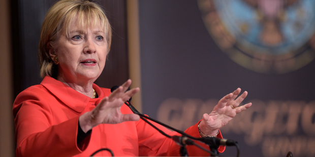 Loading Former Secretary of State Hillary Clinton speaks at Georgetown University in Washington yesterday. Photo / AP