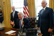 President Donald Trump, flanked by Health and Human Services Secretary Tom Price, left, and Vice President Mike Pence. Photo / AP