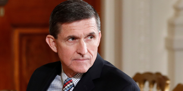 Loading Former National Security Adviser Michael Flynn sits in the East Room of the White House in Washington. Photo / AP