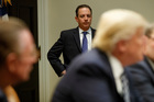 White House Chief of Staff Reince Priebus watches a meeting between President Donald Trump and the Fraternal Order of Police. Photo / AP