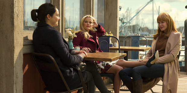 Nicole Kidman with her Big Little Lies co-stars Reese Witherspoon and Shailene Woodley. Photo / Supplied