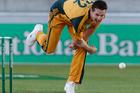 Australian bowler Shaun Tait celebrates after capturing the wicket of Black Caps batsman Brendan McCullum. Photo/AP Photos