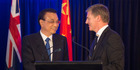 Chinese Premier Li Keqiang and New Zealand Prime Minister Bill English during their press conference.