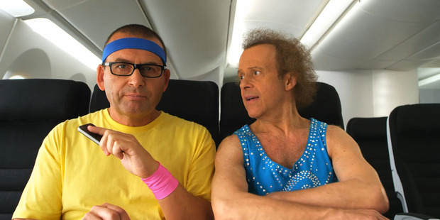 Paul Henry and Richard Simmons featured in this Air New Zealand safety video together in 2011.