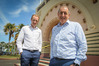 Tim McKimm (left) and the National Tobacco Company Building owner Ray McKimm standing outside one of Napier's landmarks. Photo/ Warren Buckland.