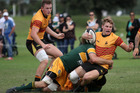 Te Puke Sports fullback Declan Barnett is tackled in last week's game against Mount Maunganui Sports. Photo / Stuart Whitaker