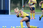 Australian rookie striker Madeleine Ratcliffe, 19, of Warrnambool, is relishing the Hockeyroos culture in the team's first tourney this year in Hastings. Photo / Warren Buckland