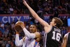 Oklahoma City Thunder guard Russell Westbrook goes up for a shot as San Antonio Spurs centre Pau Gasol defends. Photo / AP