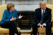 President Donald Trump meets with German Chancellor Angela Merkel in the Oval Office. Photo / AP