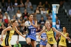 Maria Tutaia and the Mystics were edged out by one goal in last night's main game against the Pulse. Photo / Photosport